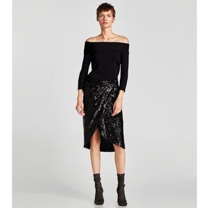 Zara Knit Off Shoulder Ribbed Cropped Sweater